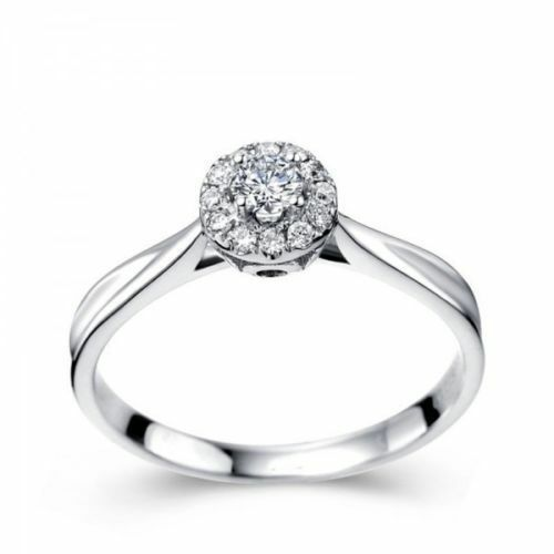 Pave 0.50 Cts F VS1 Round Brilliant Cut Natural Diamonds Ring In Solid 18K gold