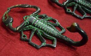 Scorpion-Figurine-Antique-Wall-Decorative-Hook-Pair-Brass-Hand-Made-Gift-VR302