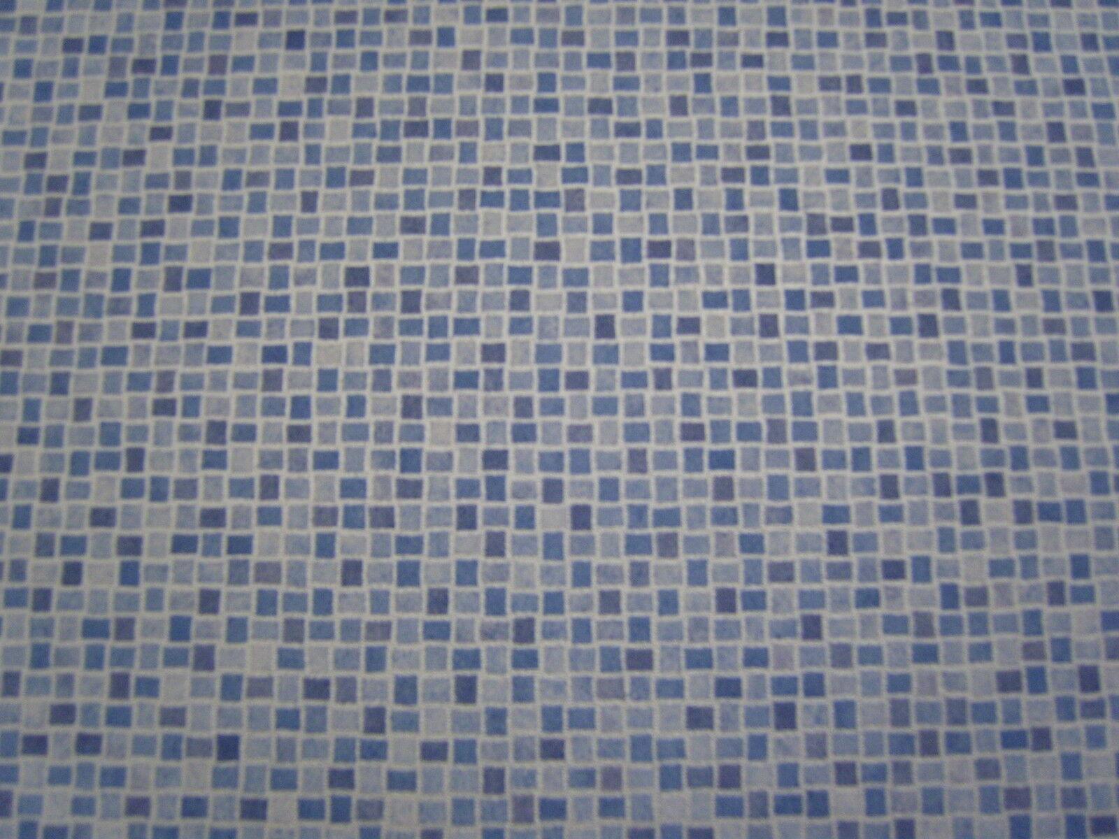 PVC Bodenbelag Mosaik Fliese blau 200 cm Breite  pro qm =