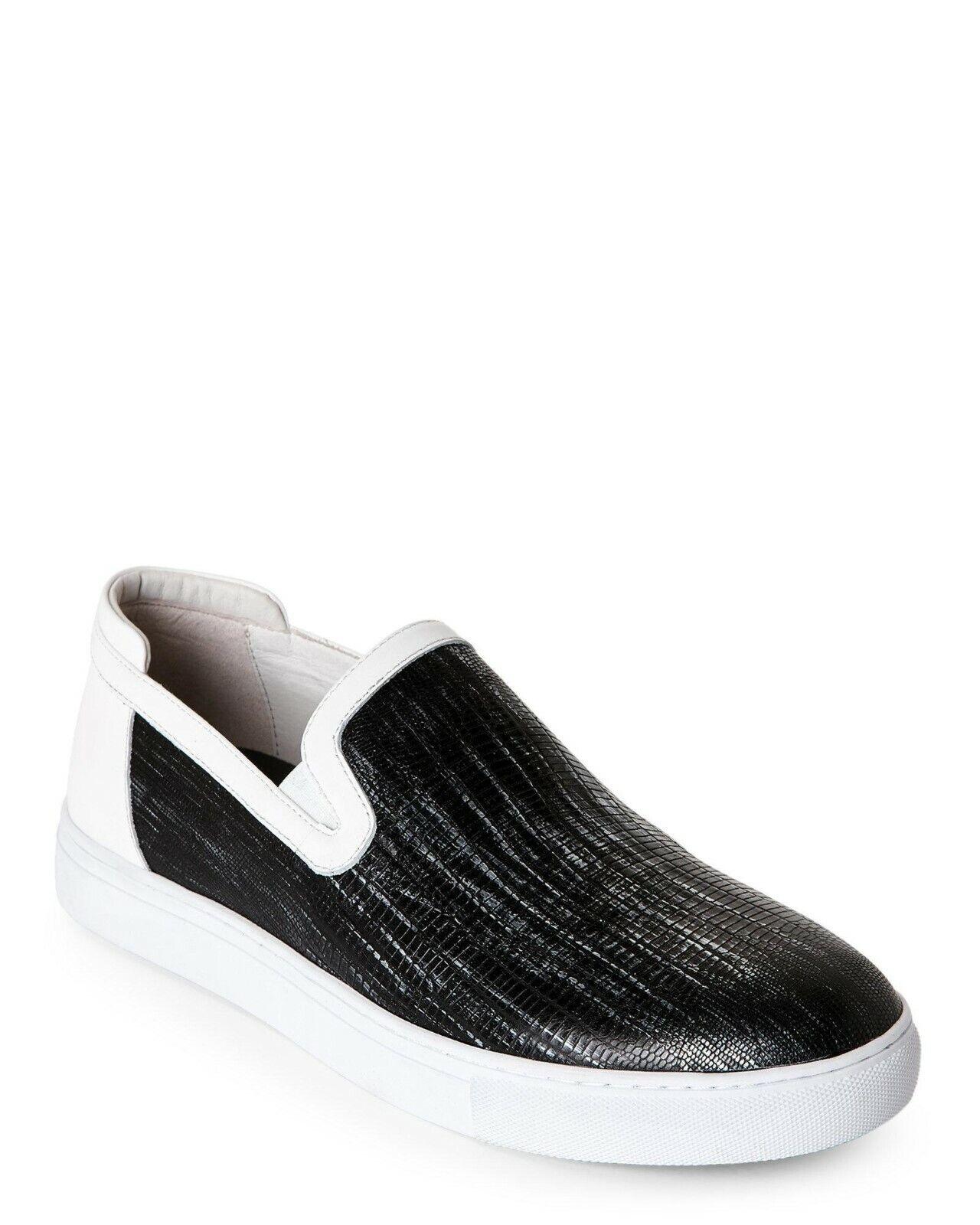 Badgley Mischka Men's Bogart Lizard-Embossed Slip On Sneaker Size10 Black White
