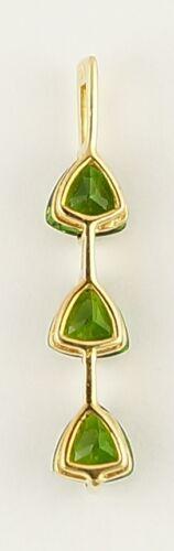 10k Yellow Gold Three Stone Green Cubic Zirconia Pendant