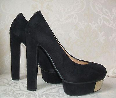 BNWB Talla 2 35 4 37 Negro Imitación Gamuza Oro Plataforma De Tacón Alto Zapatos Tribunal De Oficina