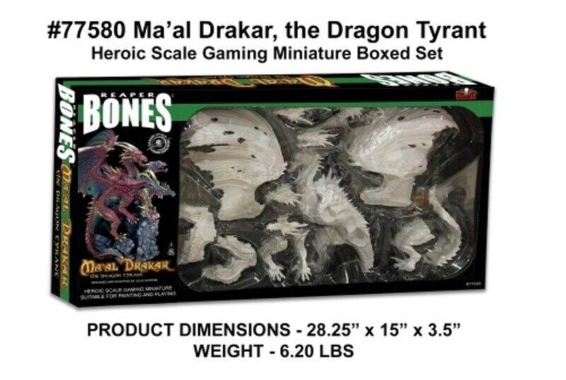 REAPER MINIATURES BONES - 77580 Ma'al Drakar the Dragon Tyrant (Boxed Set)