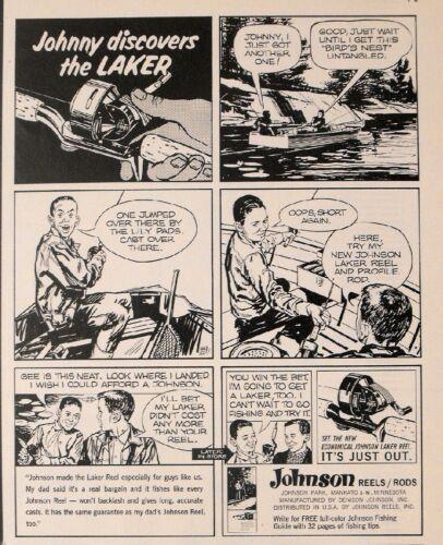 1964 Johnson Spinning~Casting Laker Reels~Profile Rod Fishing Oddball Promo Ad