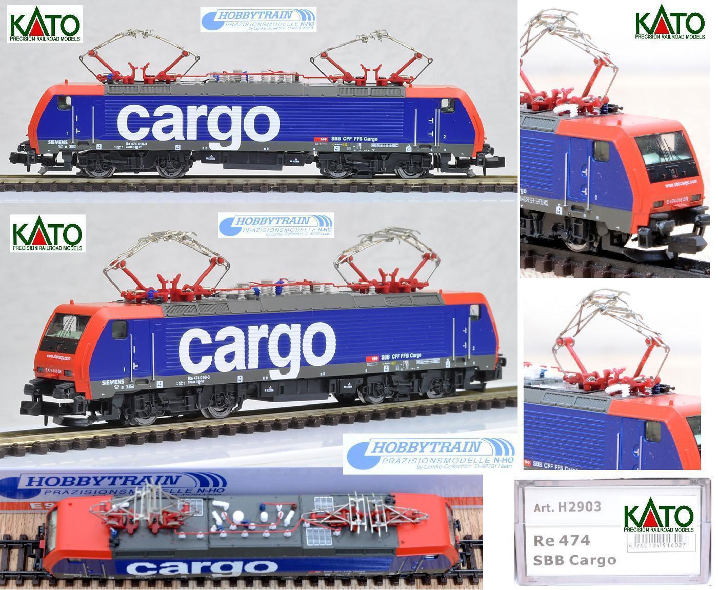 KATO-HOBBYTRAIN H2903 LOCOMOTORE ELETTRICO CARGO Re-474 SBB-CFF-FFS OVP SCALA-N