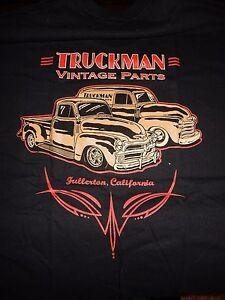 TRUCKMAN VINTAGE PARTS T SHIRT  1954 CHEVROLET TRUCK CHEVY PANEL  BLACK T SHIRT
