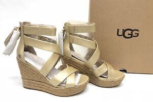 75d71c288cf Image is loading Ugg-Australia-Raquel-Metallic-Platform-Espadrille-Sandals -Soft-