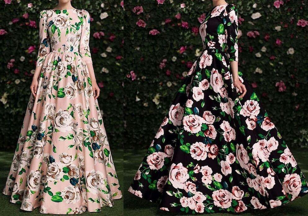 Vestito Lungo women Autunno Fiori Woman Autumn Flowers Maxi Dress 110203