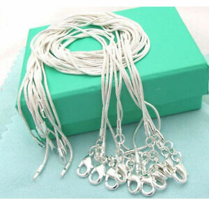 10PCS-wholesale-925-Silver-solid-Fashion-1MM-Snake-chain-Necklace-FOR-pendant