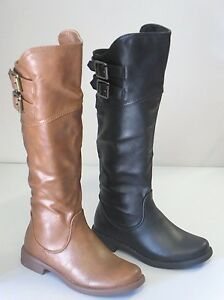 Girl Riding Boots Tall Over Knee High (aby91k) Kids Size Black Tan
