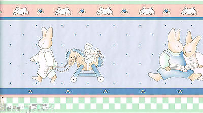 Rabbit Bunny Kid Children Baby Nursery Blue Pink Green Check Wall paper Border