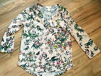 H&M CHEMISIER BLOUSE TOP IMPRIME TROPICAL MANCHES 34 ROSE XS | eBay