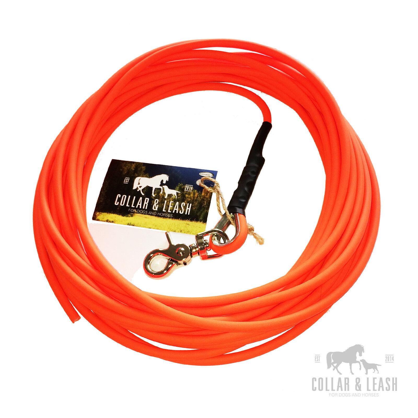 NUOVO guinzaglio cani guinzaglio concentrandola Guinzaglio dragline 15m TONDO BioThane Neon Arancione 6mm