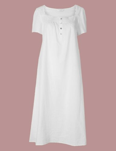 Ex Marks and Spencer Pure Cotton Dobby Nightdress Size 6 P231.24