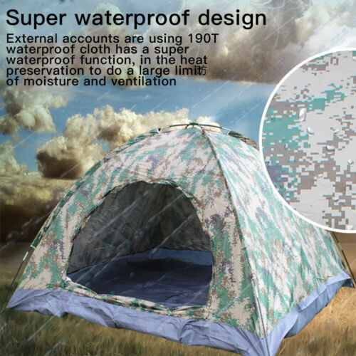 Bag 2-3 Person Instant Pop-Up Camping Tent Family Hiking Camouflage Waterproof