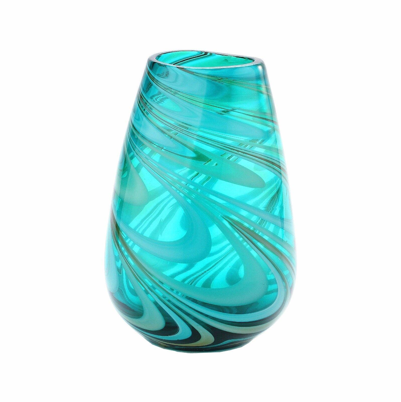 New 10  Hand Blown Art Glass Vase Grün Swirl Design Decorative