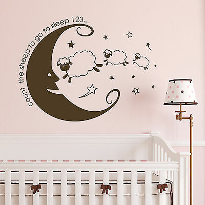 Count The Sheep Bedroom Wall Sticker Vinyl Nursery Transter