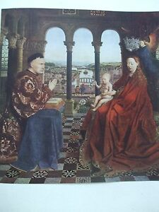 ANTIQUE-PRINT-C1930S-THE-VIRGIN-AND-CHILD-AND-DONOR-BY-JAN-VAN-EYCK-VINTAGE-ART