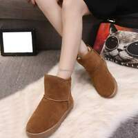 Fashion Women Winter Fur Suede Snow Boots High Boots Flat Heel Warm Shoes SZ 3-6