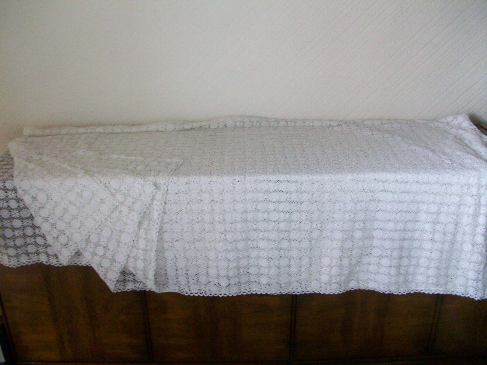 VINTAGE Bianco Cotone Ricamato Tovaglia, 130  x 74