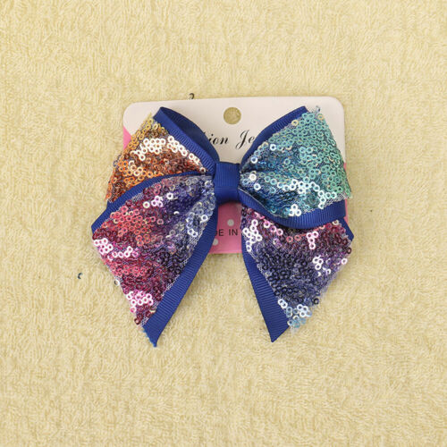 5 Inch  Large Girls Kids Sequin Bow Rainbow Bowknot Hair Clips Ribbon Knot