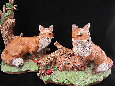 Vintage Set Fox Figurines Handmade Ceramic Made in USA 1980s Signed Statues