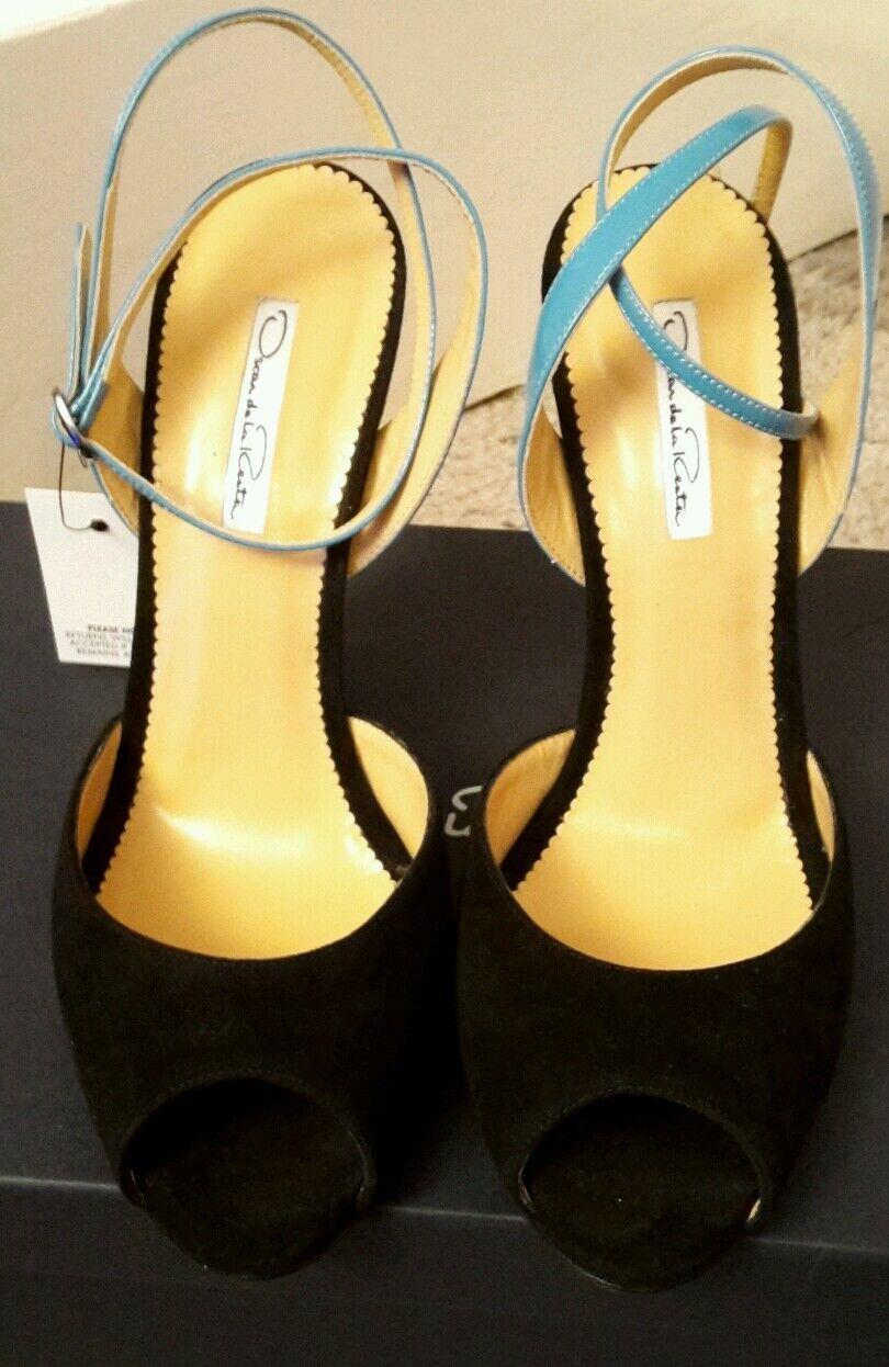 Authentic OSCAR DE LA RENTA Schuhe WEDGES shoes Wildleder SUEDE 38.5 Box NEU new