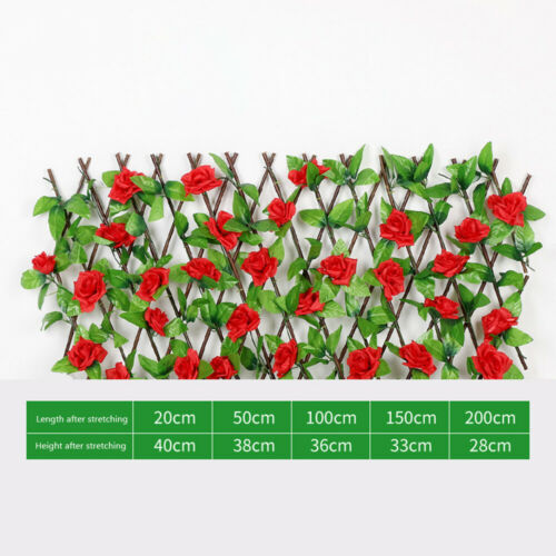 HOT!Garden Screening Trellis Expanding Wooden Fence With Artificial Flower Leave