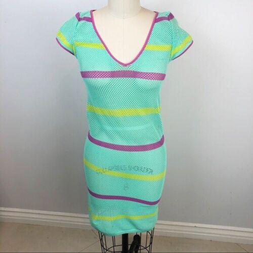 GOLDEN LADY Stripe Fishnet Mesh Swim Coverup Dress