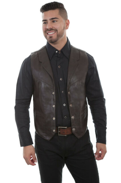 Scully Mens Cotton Canvas Vest Big and Tall Brown X-Large Tall