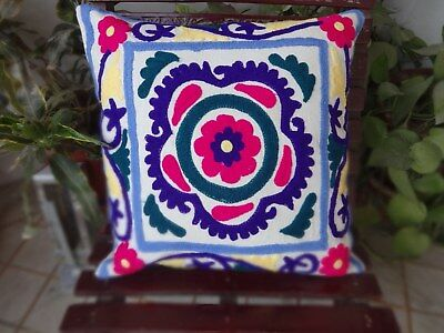 Vintage Uzbek Suzani Cushion Cover 16 Indian Embroidered Decorative Throw Pillow