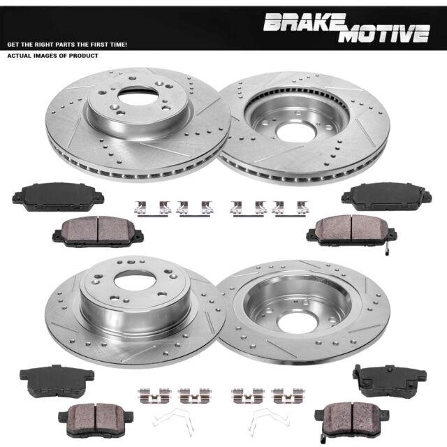 For 2013-2014 Ford Focus Front Rear Black Drilled Brake Rotors+Ceramic Pads