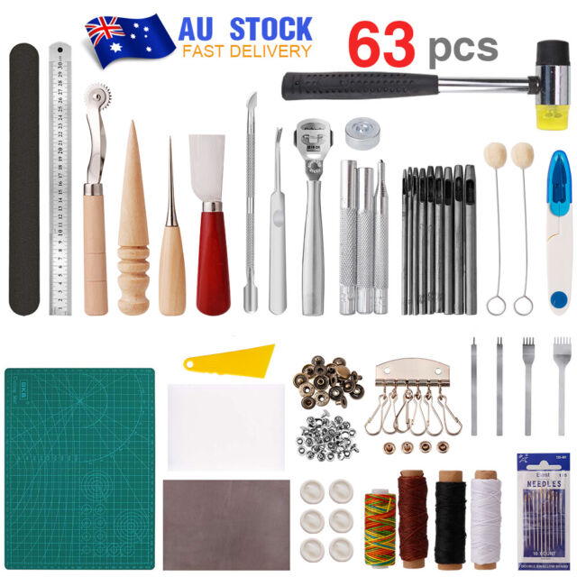 63in1 DIY Leather Craft Tools Leather Working Kit Hand Stitching Tool Set