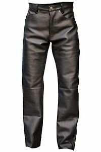 Men's Black Button Fly Thick Genuine Leather Pant 05 Pockets Jeans New Size 38