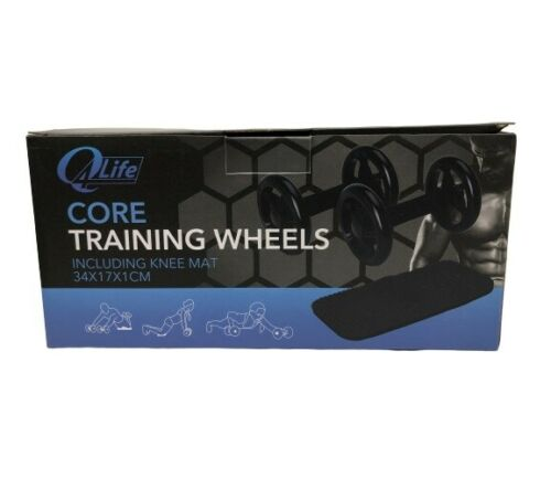 Abs Exercise Wheels Pair /& Thick Knee Pad Matt Core Trainer By Q4