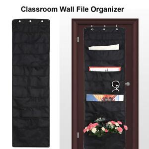 Black-Hanging-File-Organizer-Wall-File-Organizer-w-10-Storage-Pockets-amp-3-Hanger