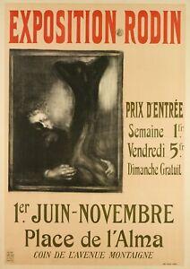 Original-Vintage-Poster-EUGENE-CARRIERE-Rodin-Exposition-Alma-1900