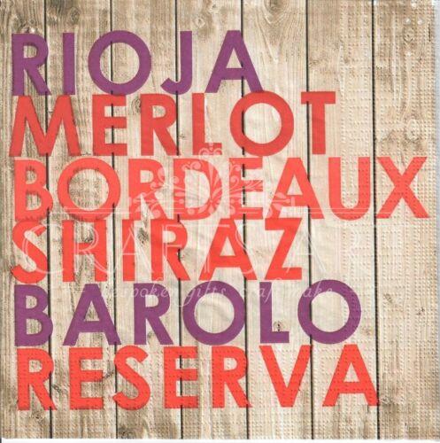 4 Solo Papel Decoupage Servilletas Shiraz -488 vino Tinto Burdeos Rioja Merlot