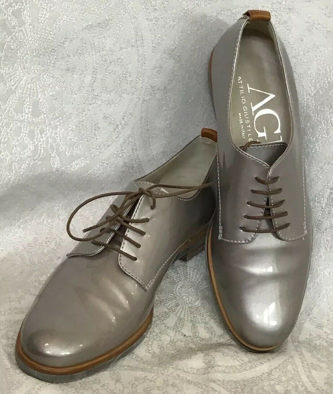 AGL shoes Dark Silver Patent Brown Lace Up Oxford Size 37