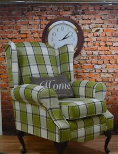 Image Is Loading Wing Back Queen Anne Chair Lime Green Alderney