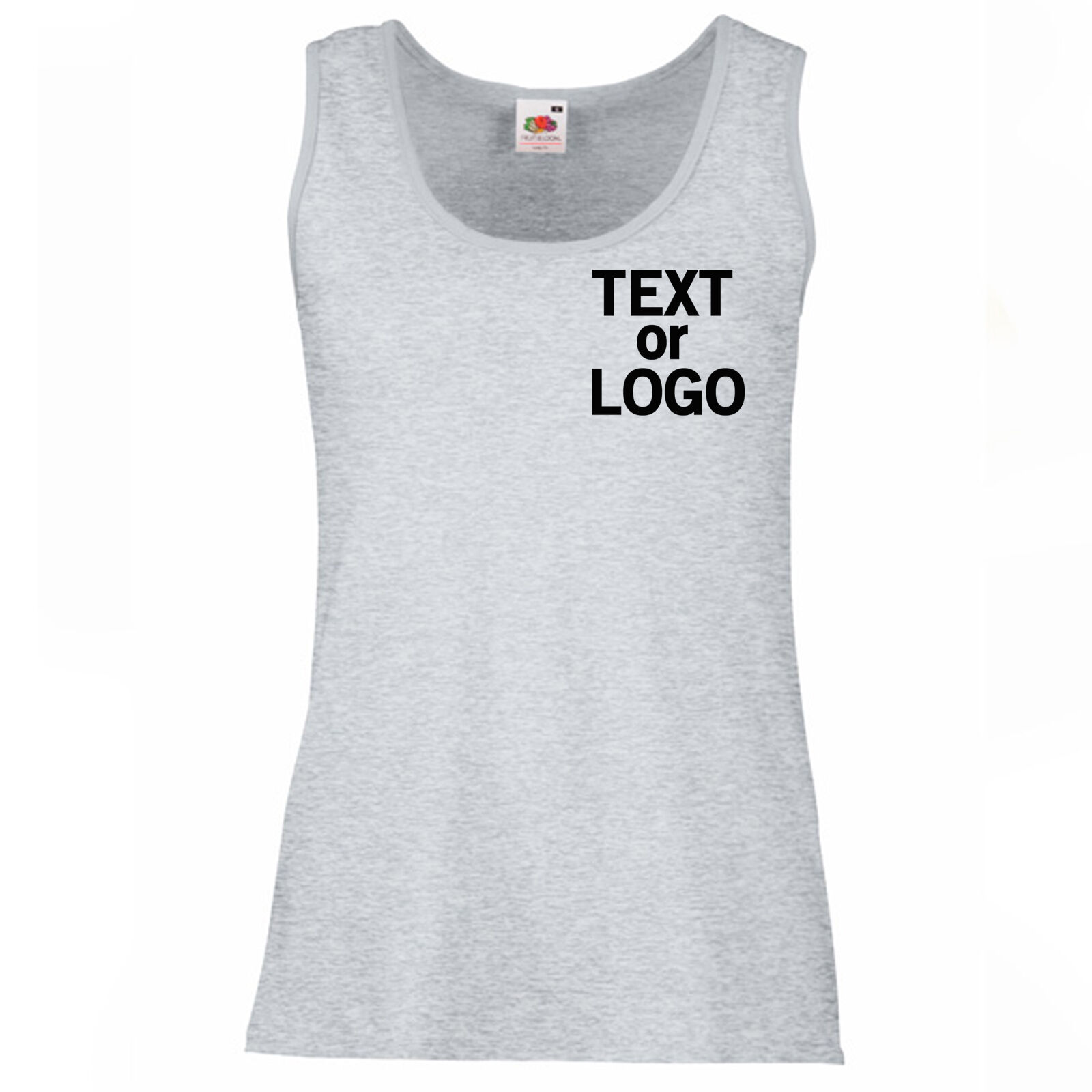 Ladies damen Lady Fit grau Vest Personalised Text Logo Design x10 Bulk Pack