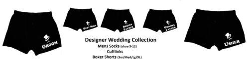 XWBS01 WEDDING MENS BOXER SHORTS Top Hat /& Moustache Groom Usher Best Man etc