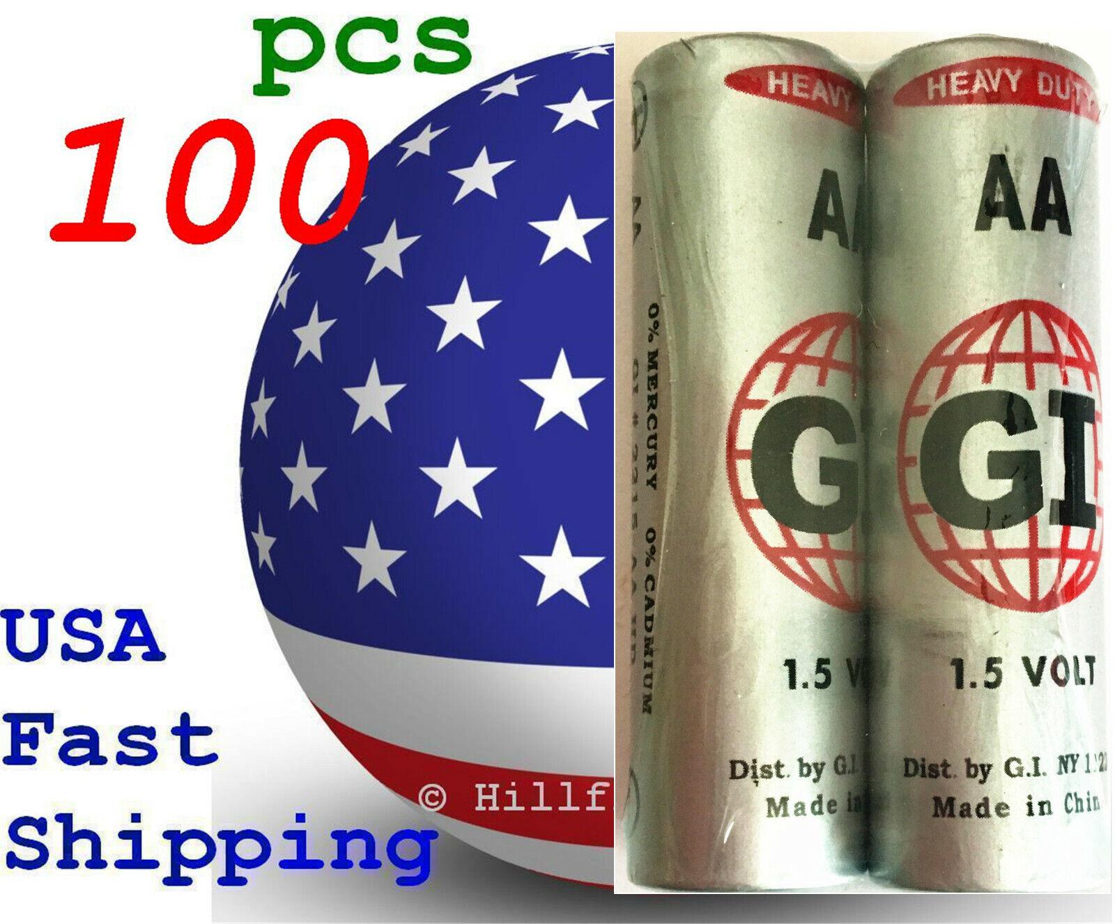 100 pcs Size AA LR6 AM-3 0% Hg Super G.I. Heavy Duty 1.5V Bulk Battery