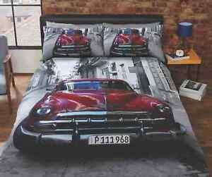 Santiago-Red-Vintage-Classic-Car-Duvet-Quilt-Cover-Bedding-Set-Pillowcases