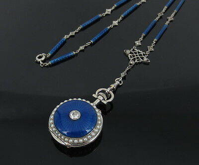 Antique 0.55ct Old Mine  Diamond Natural Pearl & Enamel 14K Pocket Watch & Chain