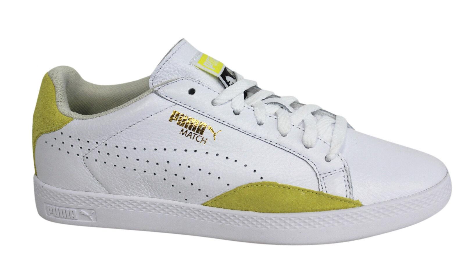 Puma Streichholz Lo einfach Sport geschnürt weiß Damen Leder Turnschuhe 357543