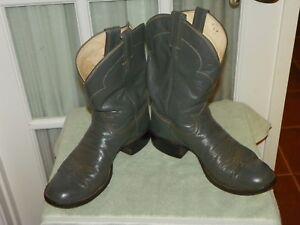bc2d0e0ed2a Tony Lama Black Label Gray Round Toe Leather Cowboy Western Boots ...