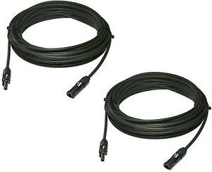 2pcs 20 Feet 10 Awg Ul Solar Panel Extension Cable Wire