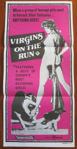 VIRGINS ON THE RUN Rare Original Australian Daybill Movie Poster PLOITATION