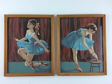(2) Vintage 1960s Framed Paint by Number Ballet Preparing Ballerina Swan Lake